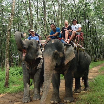 Petit tour en famille à dos d'éléphant